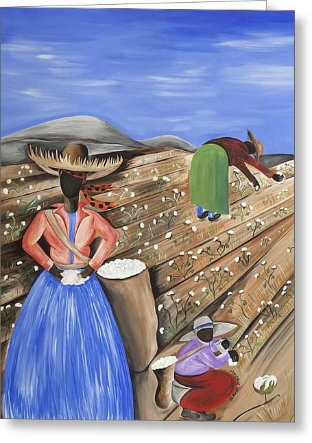 Cotton Pickin' Cotton Greeting Card by Patricia Sabree
