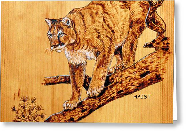 Greeting Card featuring the pyrography Cougar by Ron Haist