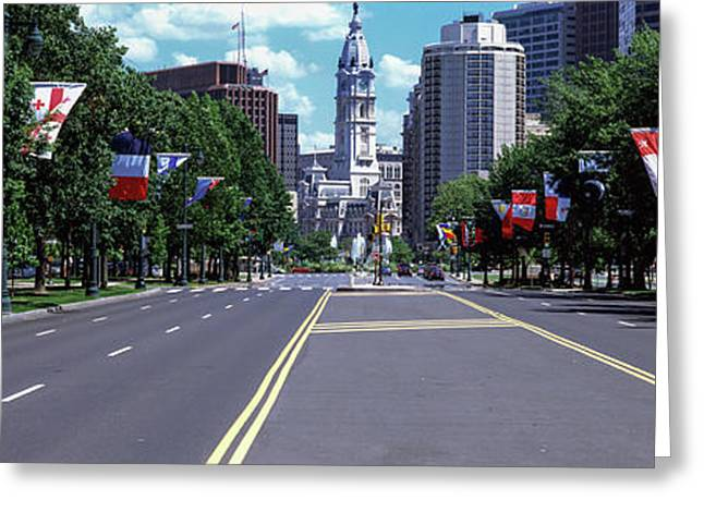 Country Flags On Trees Along Martin Greeting Card by Panoramic Images