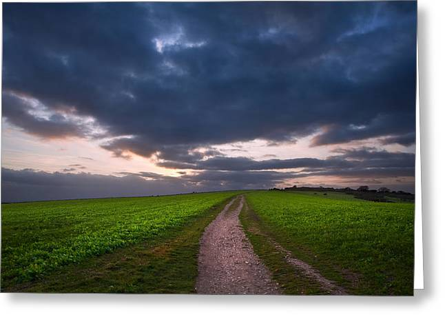 Countryside Landscape Path Leading Through Fields Towards Dramat Greeting Card by Matthew Gibson