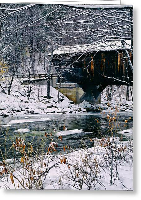 Covered Bridge In Wintry Vermont Greeting Card by Mountain Dreams