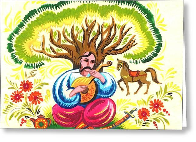 Cossack Mamay Greeting Card by Oleg Zavarzin