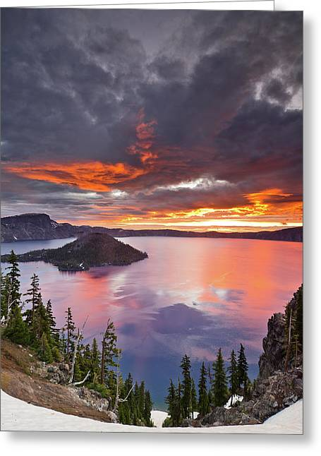 Crater Lake Dawn Greeting Card by Greg Nyquist