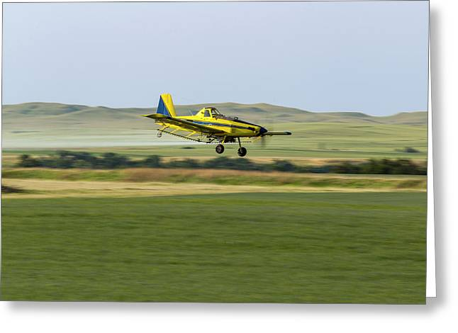 Crop Duster Airplane Spraying Flax Greeting Card
