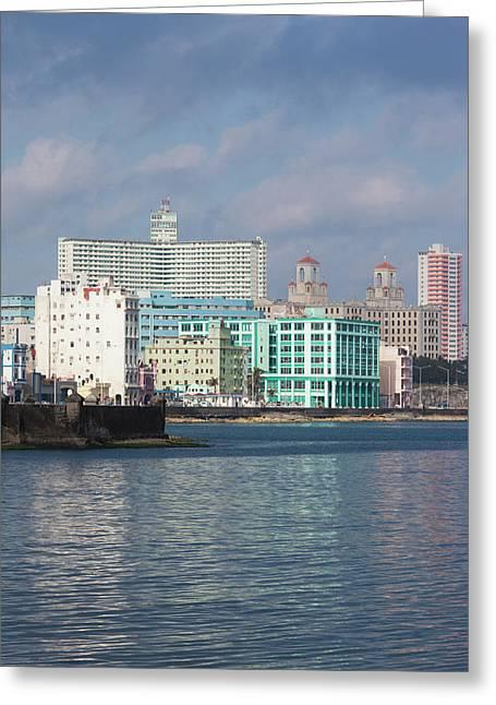 Cuba, Havana, Vedado, Elevated View Greeting Card by Walter Bibikow