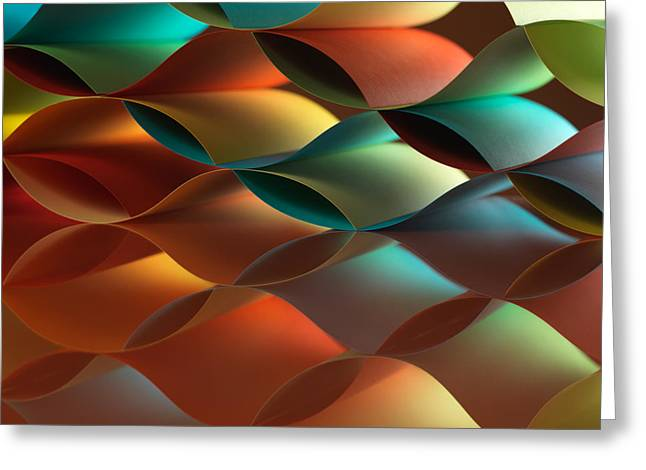 Curved Colorful Sheets Paper With Mirror Reflexions Greeting Card by Dan Comaniciu