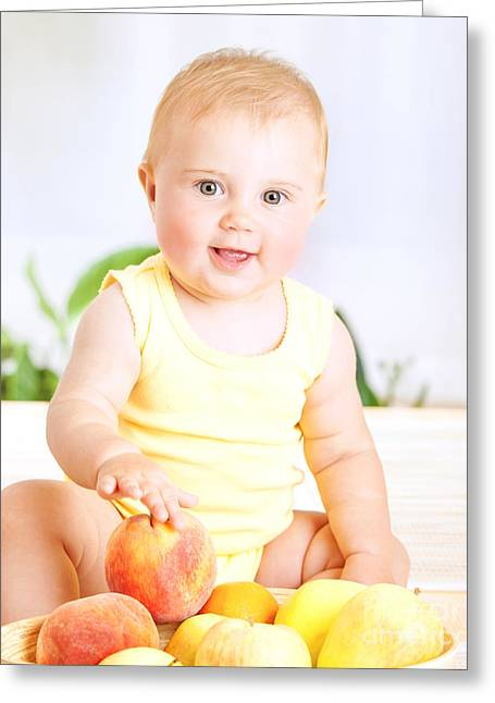 Cute Baby With Fruits Greeting Card by Anna Om