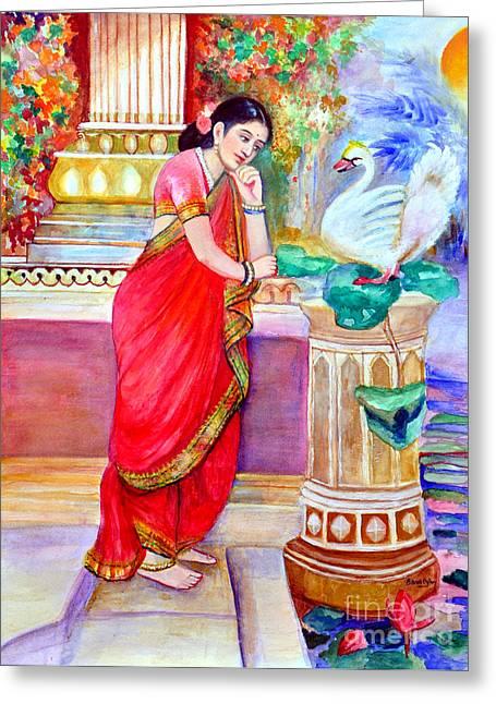 Damayanthi And The Swan Greeting Card by Banu's Art work
