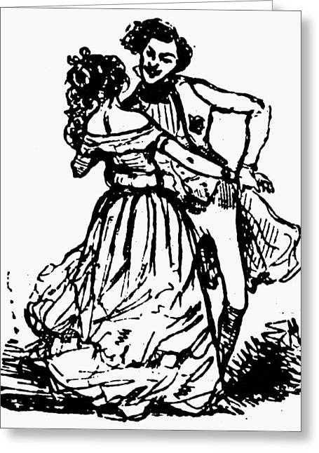 Dance Waltz, 1846 Greeting Card