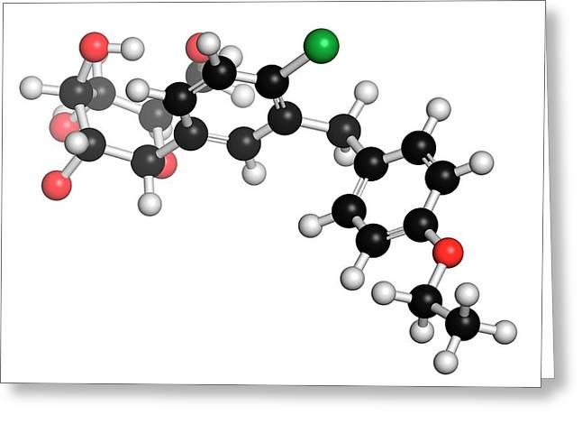 Dapagliflozin Diabetes Drug Molecule Greeting Card by Molekuul