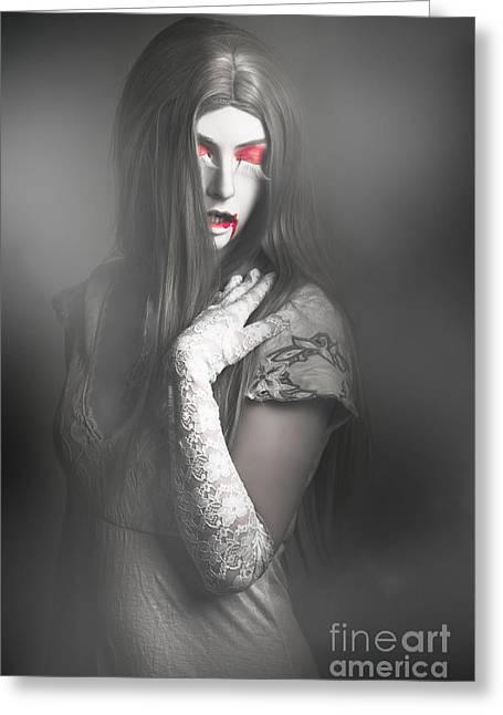 Dark Fine Art Portrait. Beautiful Vampire Woman Greeting Card by Jorgo Photography - Wall Art Gallery