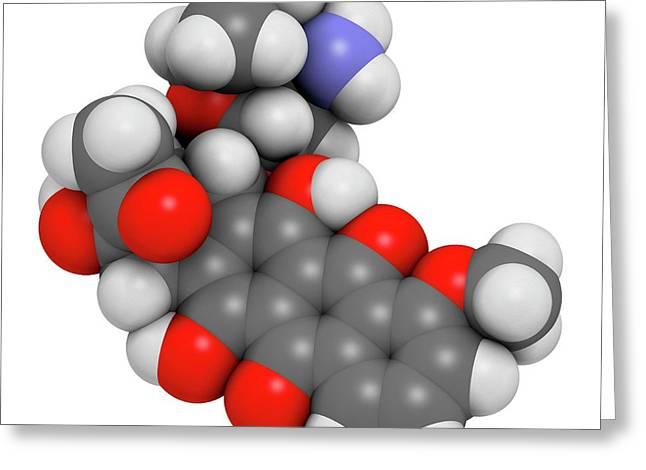 Daunorubicin Cancer Drug Molecule Greeting Card