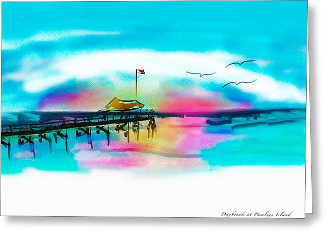 Greeting Card featuring the digital art Daybreak At Pawleys Island by Frank Bright