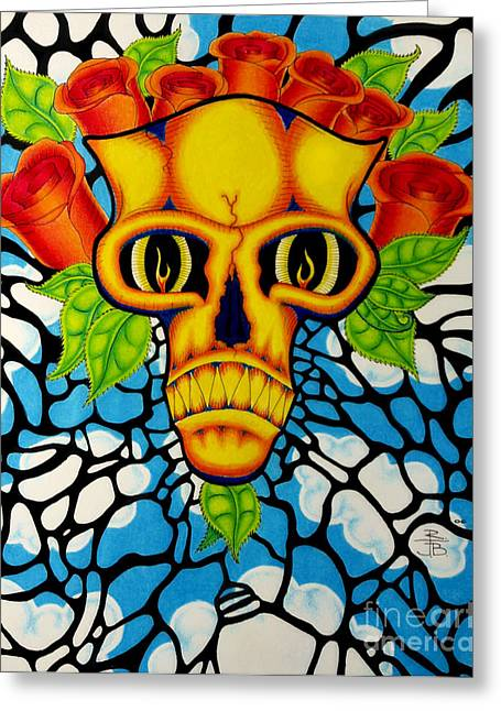 Death Mask Greeting Card by Robert Ball