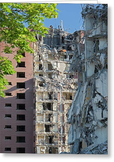 Demolition Of Detroit Housing Towers Greeting Card