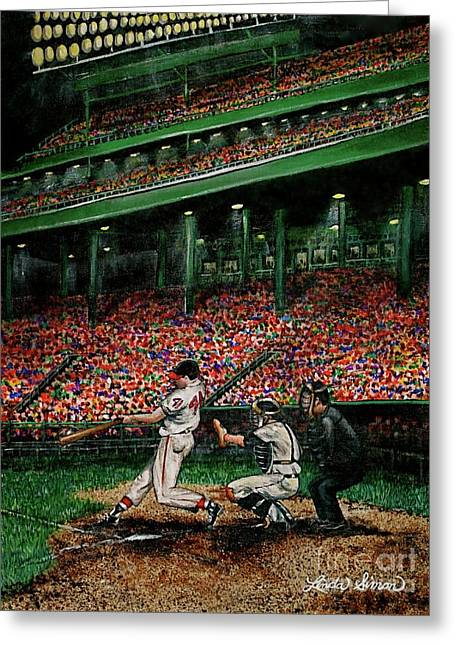 Derrek's Homerun Greeting Card by Linda Simon