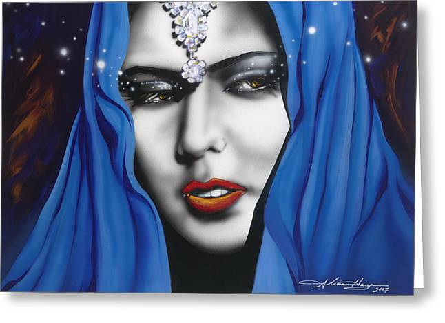 Persian Women Greeting Cards - Desert Moon Greeting Card by Alicia Hayes