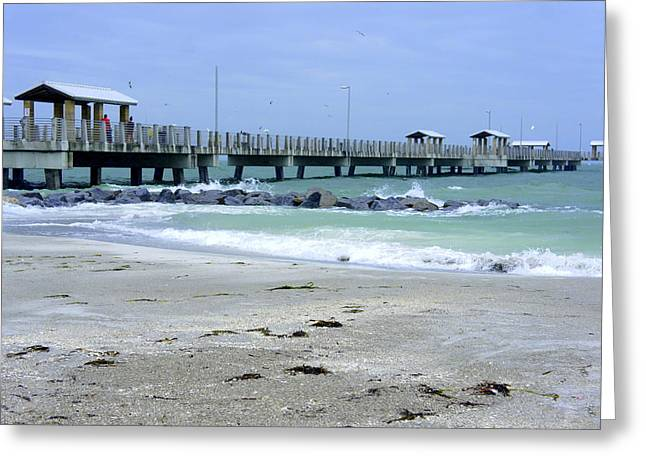 Desota Pier Greeting Card by Laurie Perry