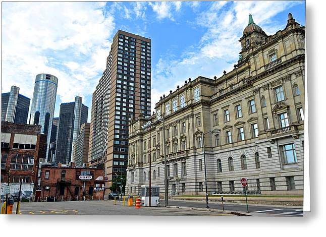 Detroit From Below Greeting Card by Frozen in Time Fine Art Photography