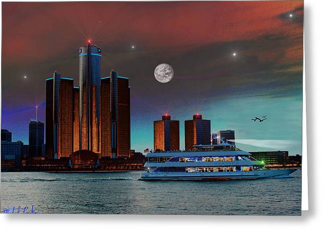 Detroit Skyline Greeting Card by Michael Rucker