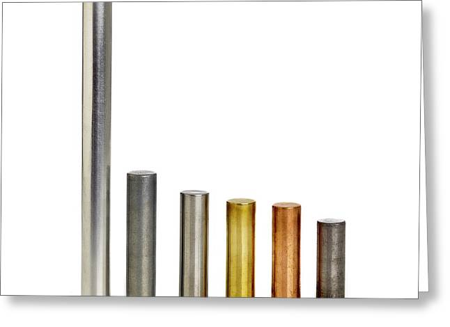 Different Density Metals Greeting Card by Science Photo Library