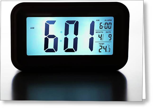 Digital Alarm Clock Greeting Card by Science Photo Library