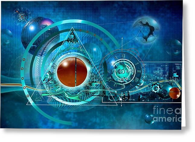 Digital Genesis Greeting Card by Franziskus Pfleghart
