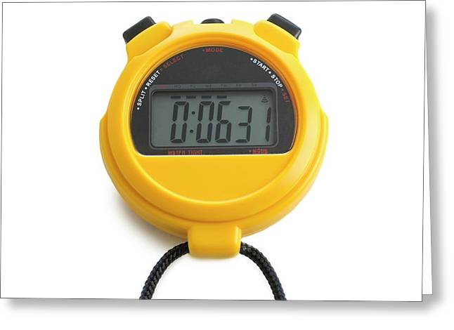 Digital Stopwatch Greeting Card by Science Photo Library