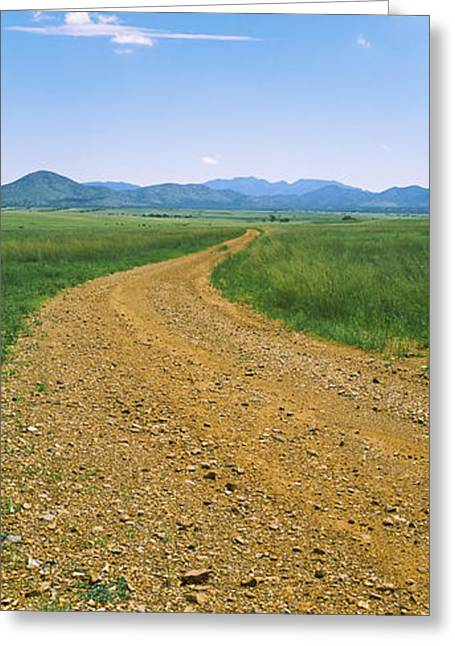 Dirt Road Passing Through A Landscape Greeting Card by Panoramic Images