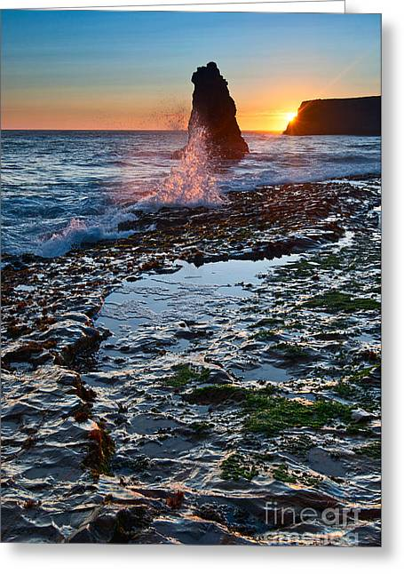 Dramatic View Of A Sea Stack In Davenport Beach Santa Cruz. Greeting Card by Jamie Pham