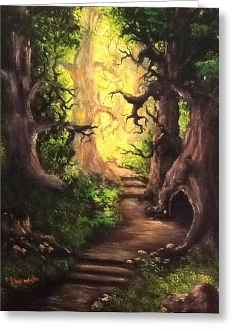 Greeting Card featuring the painting Druid Forest by Megan Walsh