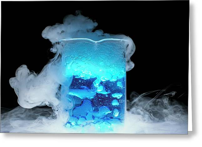 Dry Ice Vaporising Greeting Card by Science Photo Library