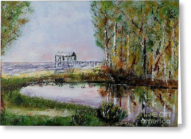 Fairhope Al. Duck Pond Greeting Card by Melvin Turner