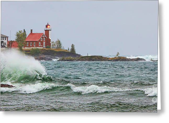 Eagle Harbor Lighthouse Greeting Card by Jack Schultz