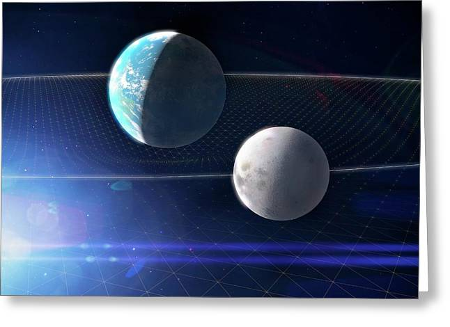 Earth And Moon And Space-time Greeting Card by Ramon Andrade 3dciencia