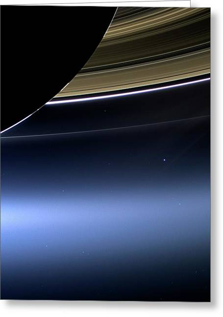 Earth And Moon From Saturn Greeting Card