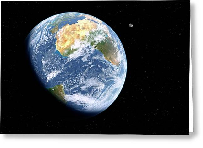 Earth And Moon From Space Greeting Card by Detlev Van Ravenswaay