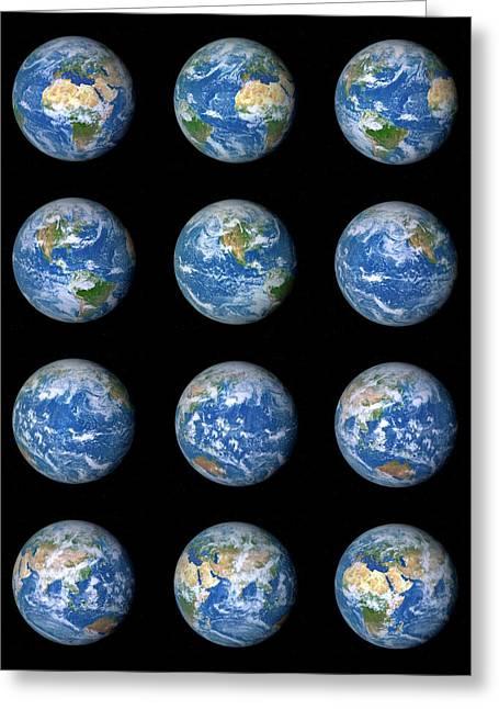 Earth's Rotation Greeting Card by Detlev Van Ravenswaay