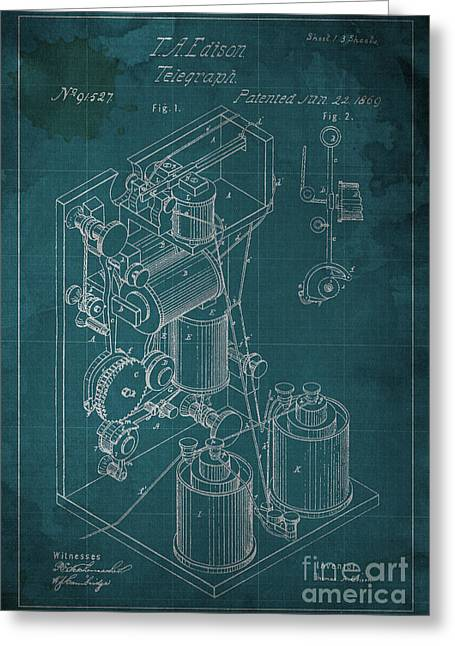Edison Improvement In Printing Telegraphs Greeting Card by Pablo Franchi