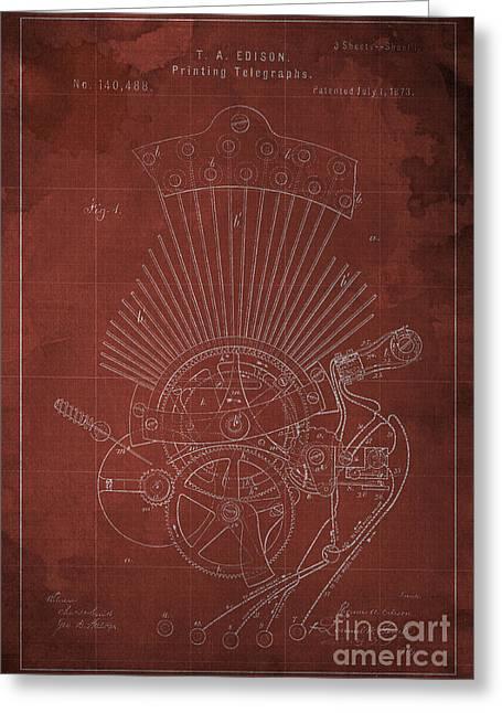 Edison Printing Telegraphs Patent Blueprint 1 Greeting Card