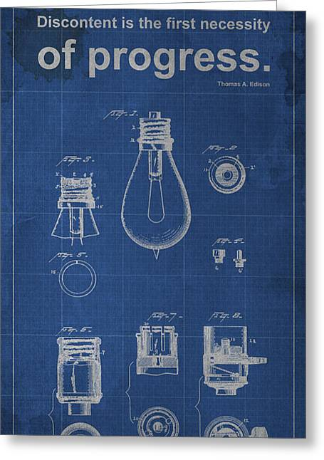 Edison Quote Lamp Patent Blueprint Greeting Card