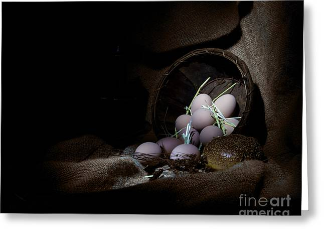 Eggs In A Basket Greeting Card by Cecil Fuselier