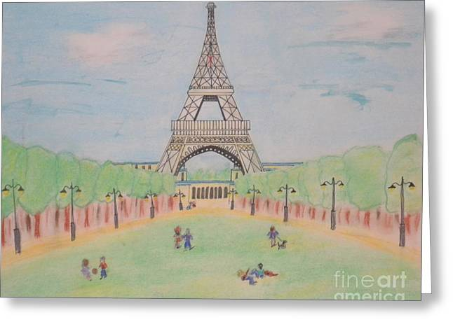 Greeting Card featuring the pastel Eiffel Tower by Denise Tomasura