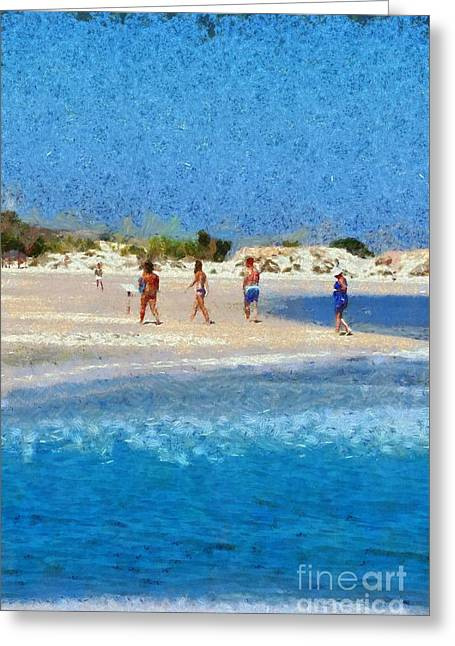 Painting Of Elafonisi Beach Greeting Card