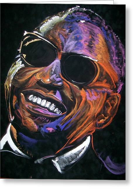Greeting Card featuring the mixed media electric Ray Charles by Peter Suhocke