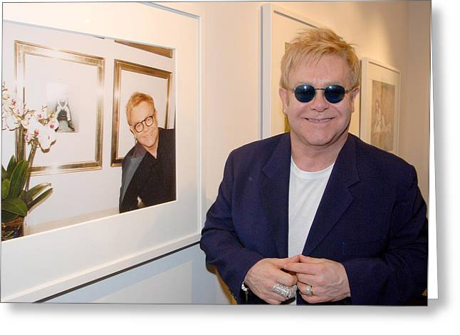 Elton Watching Elton Greeting Card by Philip Shone