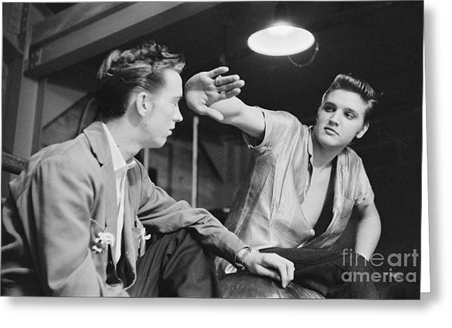Elvis Presley And His Cousin Gene Smith 1956 Greeting Card by The Harrington Collection