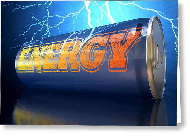 Energy Drink Can Greeting Card by Allan Swart