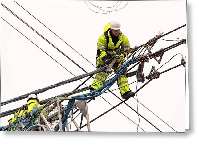 Engineers Working On Electricity Wires Greeting Card