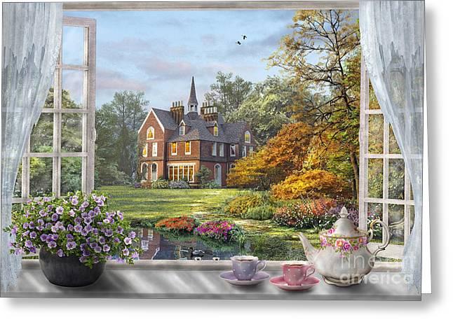 English Garden Greeting Card by Dominic Davison